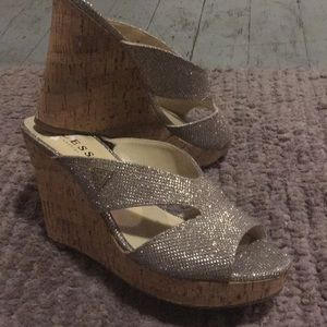 Guess sparkle peep toe wedges
